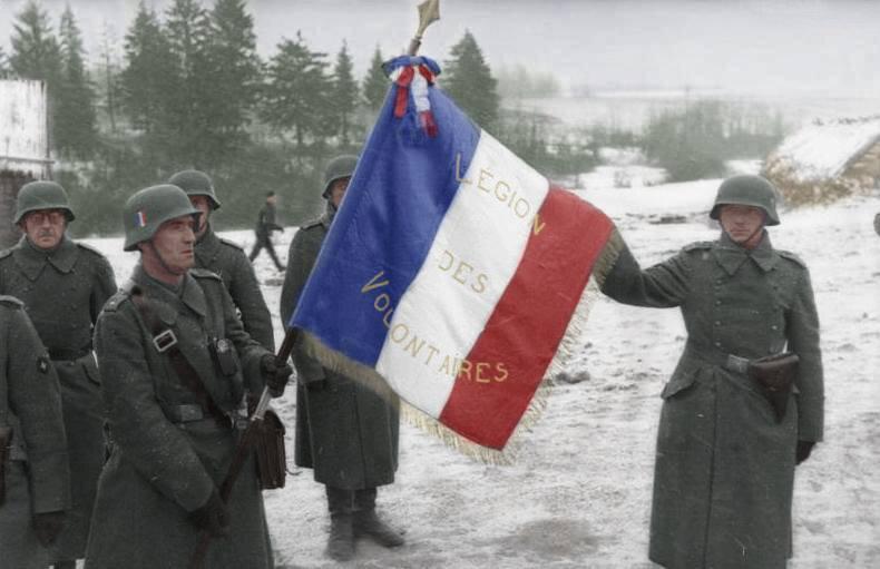 Французский флаг и солдаты