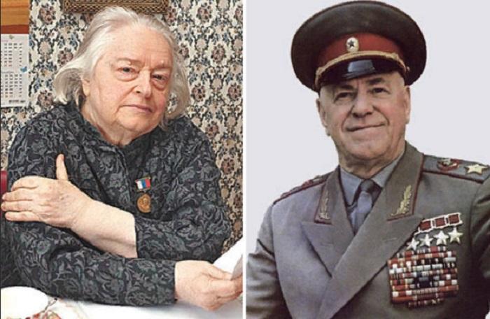 Сравнительное фото Маргариты Жуковой и ее отца маршала Георгия Жукова