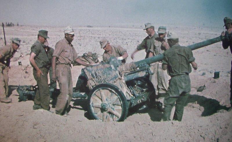 Противотанковое немецкое орудие в Африке