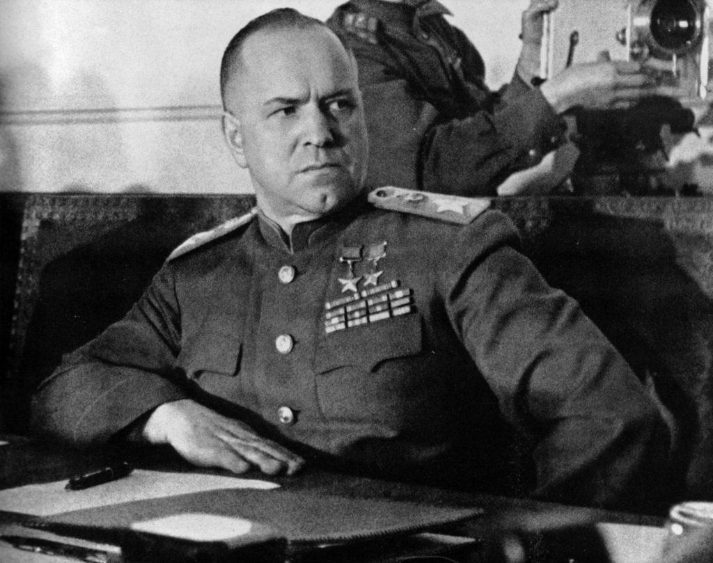 Портрет маршала Жукова во время подписания акта о безоговорочной капитуляции Германии